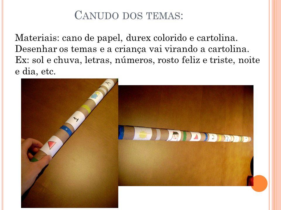 C ANUDO DOS TEMAS : Materiais: cano de papel, durex colorido e cartolina. Desenhar os temas e a criança vai virando a cartolina. Ex: sol e chuva, letr