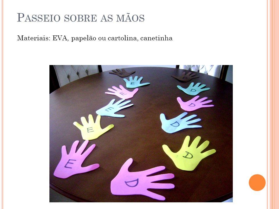 P ASSEIO SOBRE AS MÃOS Materiais: EVA, papelão ou cartolina, canetinha