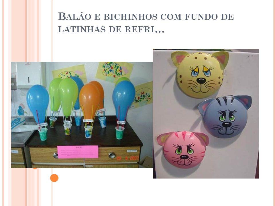 B ALÃO E BICHINHOS COM FUNDO DE LATINHAS DE REFRI …