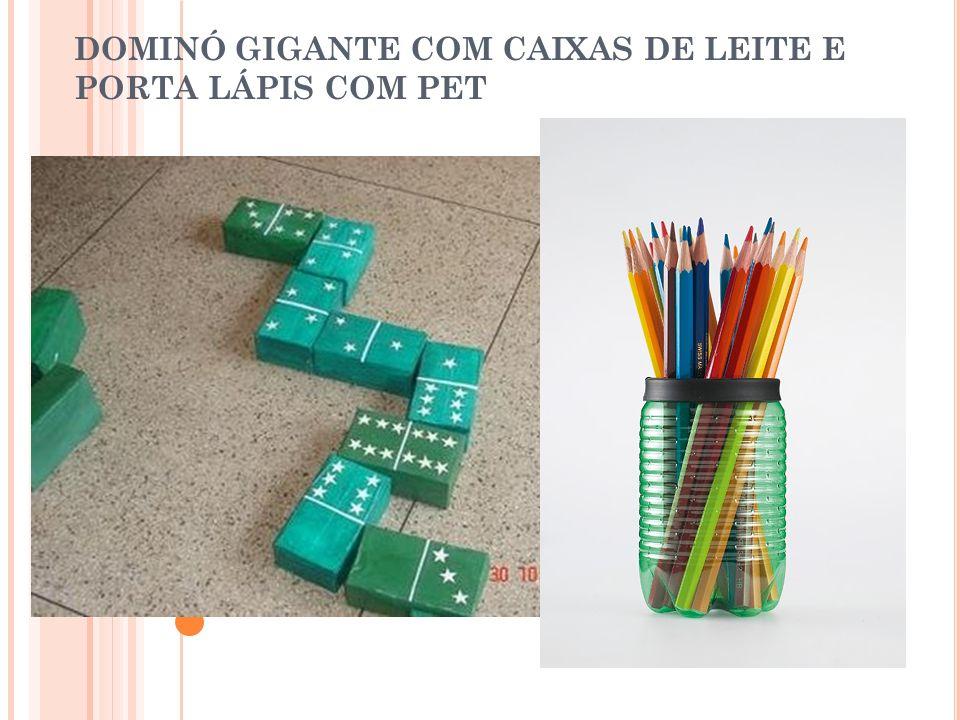DOMINÓ GIGANTE COM CAIXAS DE LEITE E PORTA LÁPIS COM PET