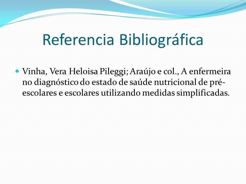 Referencia Bibliográfica Vinha, Vera Heloisa Pileggi; Araújo e col., A enfermeira no diagnóstico do estado de saúde nutricional de pré- escolares e es