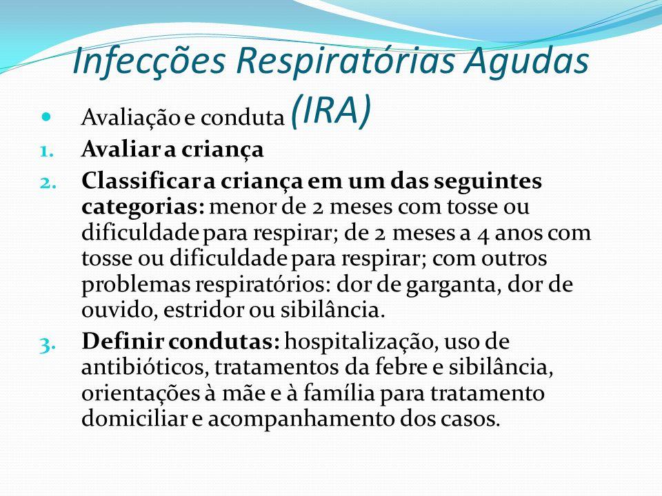 Infecções Respiratórias Agudas (IRA) Avaliação e conduta 1. Avaliar a criança 2. Classificar a criança em um das seguintes categorias: menor de 2 mese