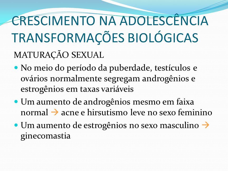 CRESCIMENTO NA ADOLESCÊNCIA TRANSFORMAÇÕES BIOLÓGICAS MATURAÇÃO SEXUAL No meio do período da puberdade, testículos e ovários normalmente segregam andr