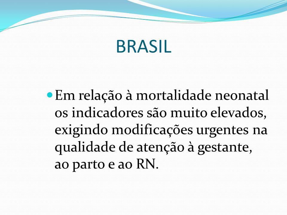 BRASIL Em relação à mortalidade neonatal os indicadores são muito elevados, exigindo modificações urgentes na qualidade de atenção à gestante, ao part