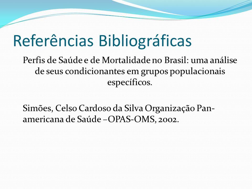 Referências Bibliográficas Perfis de Saúde e de Mortalidade no Brasil: uma análise de seus condicionantes em grupos populacionais específicos. Simões,