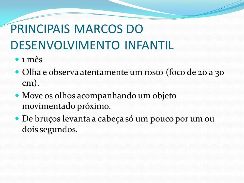PRINCIPAIS MARCOS DO DESENVOLVIMENTO INFANTIL 1 mês Olha e observa atentamente um rosto (foco de 20 a 30 cm). Move os olhos acompanhando um objeto mov