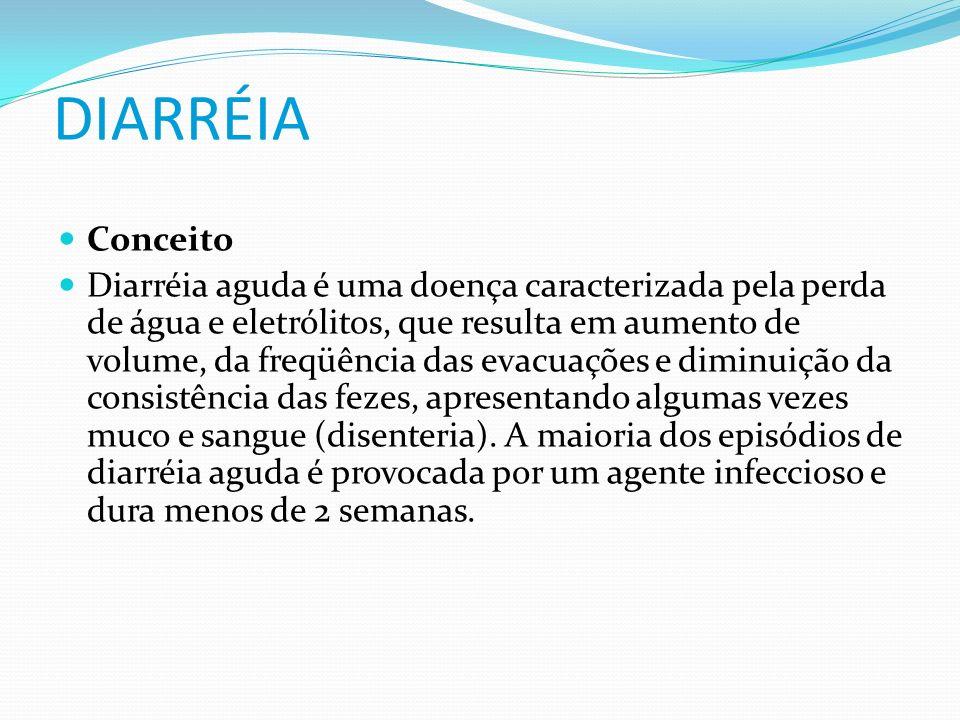 DIARRÉIA Conceito Diarréia aguda é uma doença caracterizada pela perda de água e eletrólitos, que resulta em aumento de volume, da freqüência das evac