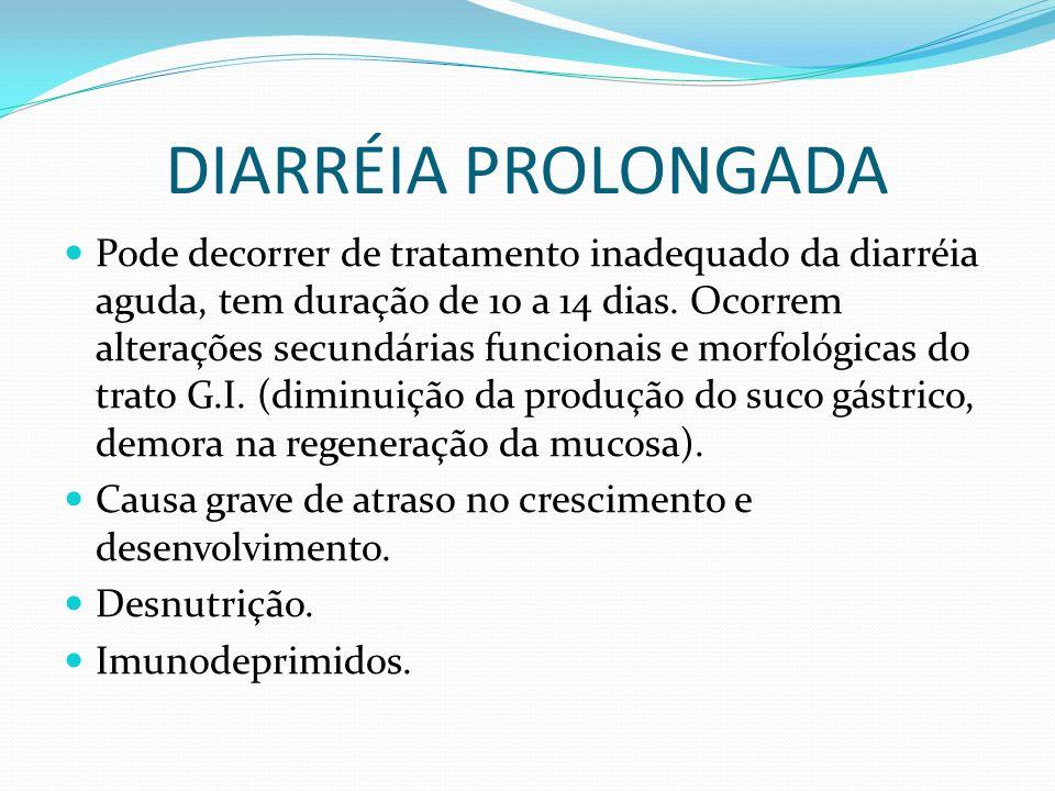 DIARRÉIA PROLONGADA Pode decorrer de tratamento inadequado da diarréia aguda, tem duração de 10 a 14 dias. Ocorrem alterações secundárias funcionais e