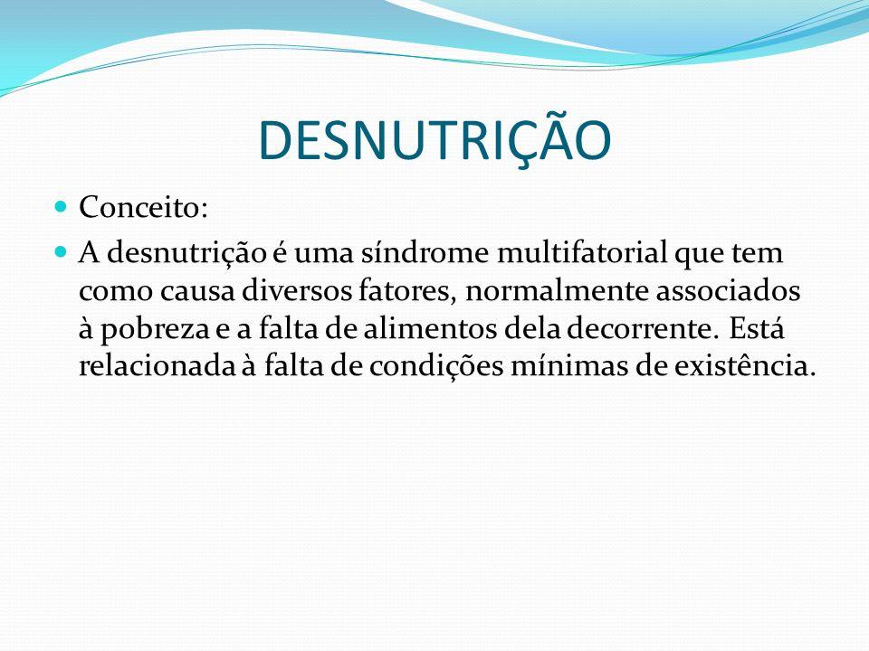 DESNUTRIÇÃO Conceito: A desnutrição é uma síndrome multifatorial que tem como causa diversos fatores, normalmente associados à pobreza e a falta de al