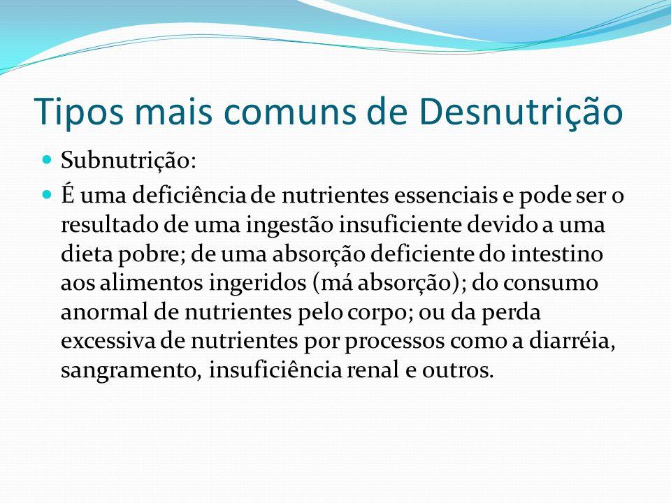Tipos mais comuns de Desnutrição Subnutrição: É uma deficiência de nutrientes essenciais e pode ser o resultado de uma ingestão insuficiente devido a