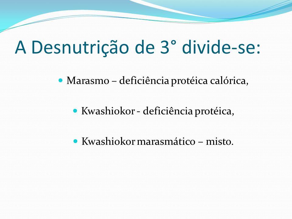 A Desnutrição de 3° divide-se: Marasmo – deficiência protéica calórica, Kwashiokor - deficiência protéica, Kwashiokor marasmático – misto.