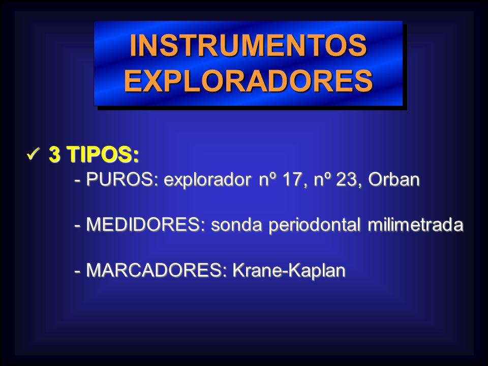 INSTRUMENTOSEXPLORADORESINSTRUMENTOSEXPLORADORES 3 TIPOS: 3 TIPOS: - PUROS: explorador nº 17, nº 23, Orban - PUROS: explorador nº 17, nº 23, Orban - MEDIDORES: sonda periodontal milimetrada - MEDIDORES: sonda periodontal milimetrada - MARCADORES: Krane-Kaplan - MARCADORES: Krane-Kaplan