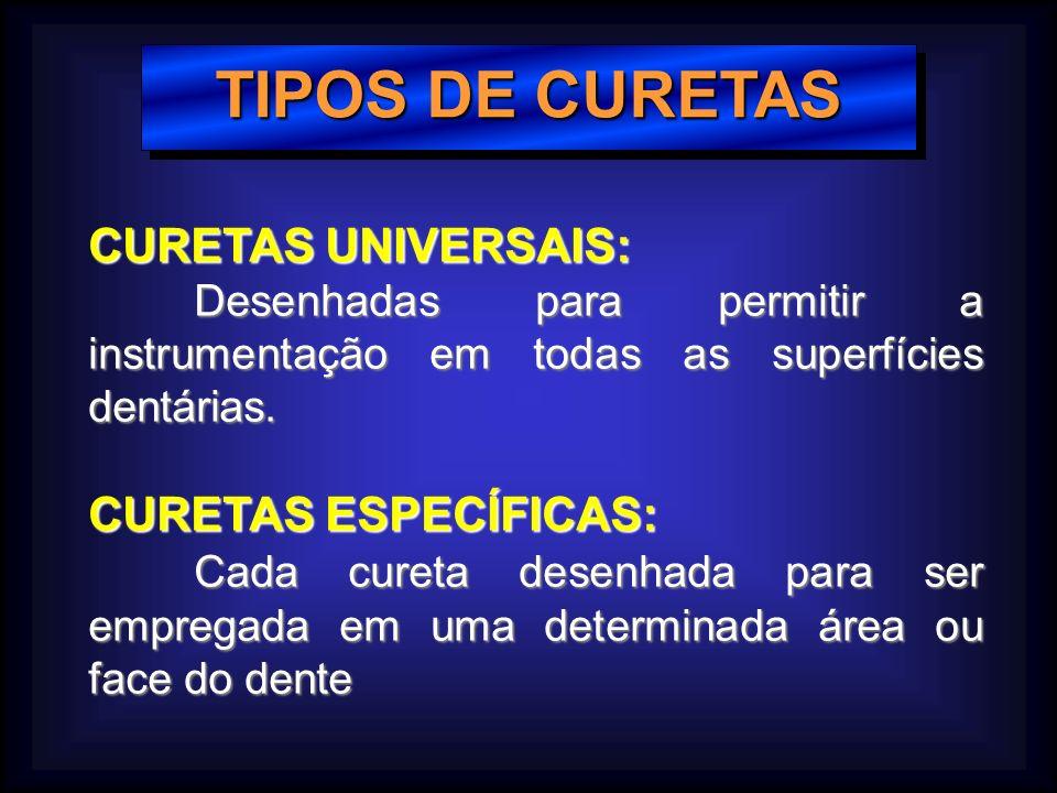 TIPOS DE CURETAS CURETAS UNIVERSAIS: Desenhadas para permitir a instrumentação em todas as superfícies dentárias.