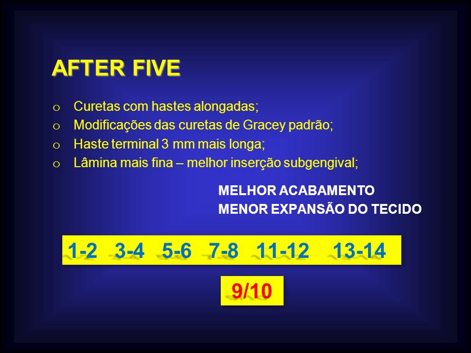 AFTER FIVE AFTER FIVE o Curetas com hastes alongadas; o Modificações das curetas de Gracey padrão; o Haste terminal 3 mm mais longa; o Lâmina mais fin