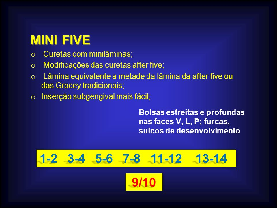 MINI FIVE MINI FIVE o Curetas com minilâminas; o Modificações das curetas after five; o Lâmina equivalente a metade da lâmina da after five ou das Gra