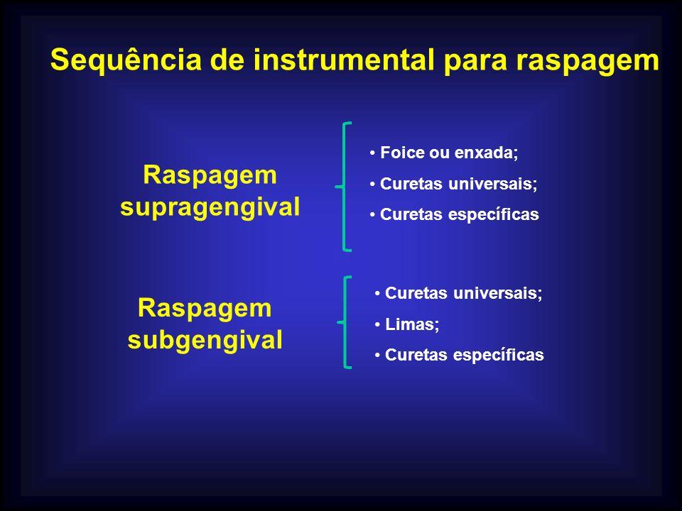 Sequência de instrumental para raspagem Raspagem supragengival Foice ou enxada; Curetas universais; Curetas específicas Raspagem subgengival Curetas universais; Limas; Curetas específicas