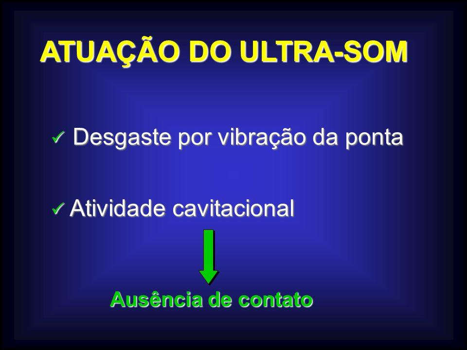 ATUAÇÃO DO ULTRA-SOM Desgaste por vibração da ponta Desgaste por vibração da ponta Atividade cavitacional Atividade cavitacional Ausência de contato