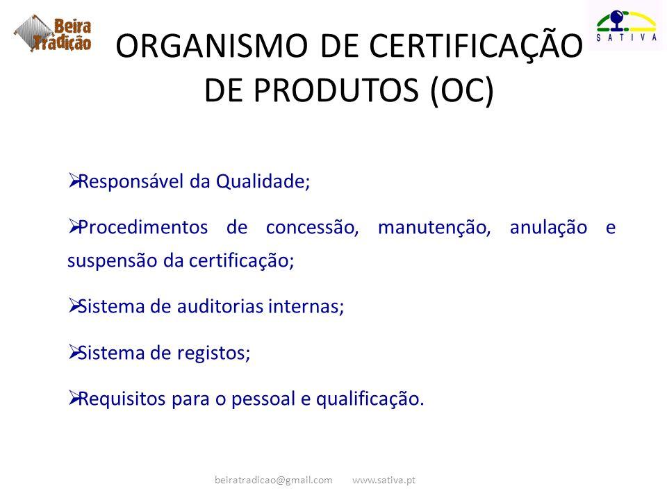 Responsável da Qualidade; Procedimentos de concessão, manutenção, anulação e suspensão da certificação; Sistema de auditorias internas; Sistema de reg