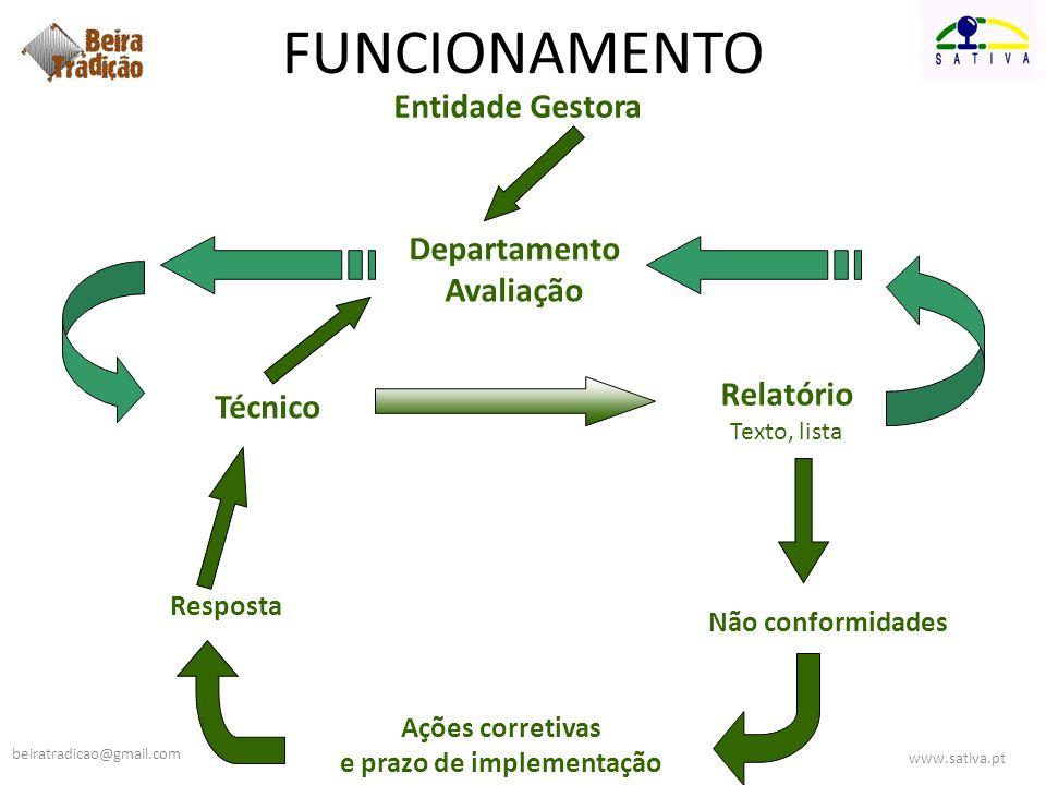 Departamento Avaliação Ações corretivas e prazo de implementação Não conformidades Relatório Texto, lista Técnico Resposta FUNCIONAMENTO Entidade Gest