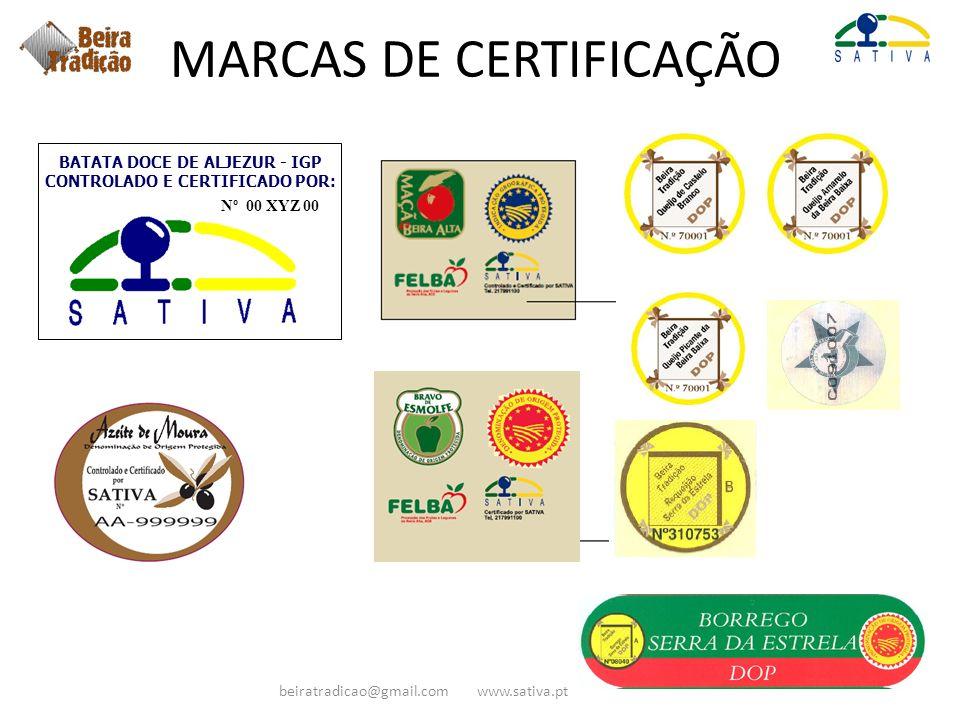 MARCAS DE CERTIFICAÇÃO Nº 00 XYZ 00 BATATA DOCE DE ALJEZUR - IGP CONTROLADO E CERTIFICADO POR: beiratradicao@gmail.com www.sativa.pt
