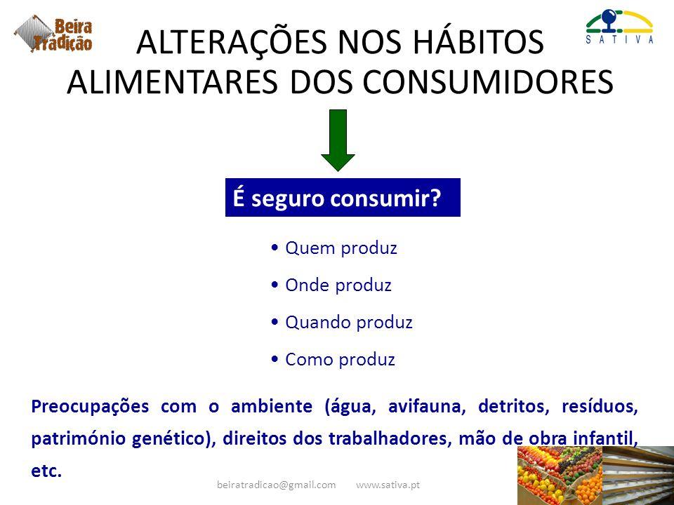 ALTERAÇÕES NOS HÁBITOS ALIMENTARES DOS CONSUMIDORES É seguro consumir? Quem produz Onde produz Quando produz Como produz Preocupações com o ambiente (
