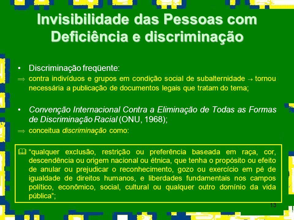 13 Discriminação freqüente: contra indivíduos e grupos em condição social de subalternidade tornou necessária a publicação de documentos legais que tr