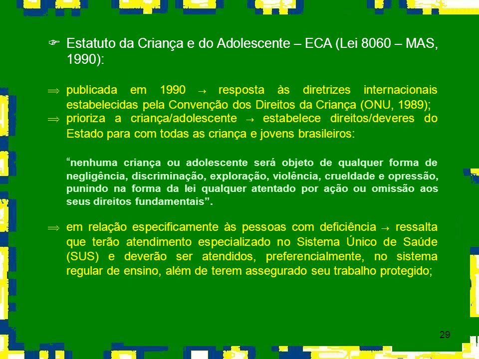 29 Estatuto da Criança e do Adolescente – ECA (Lei 8060 – MAS, 1990): publicada em 1990 resposta às diretrizes internacionais estabelecidas pela Conve