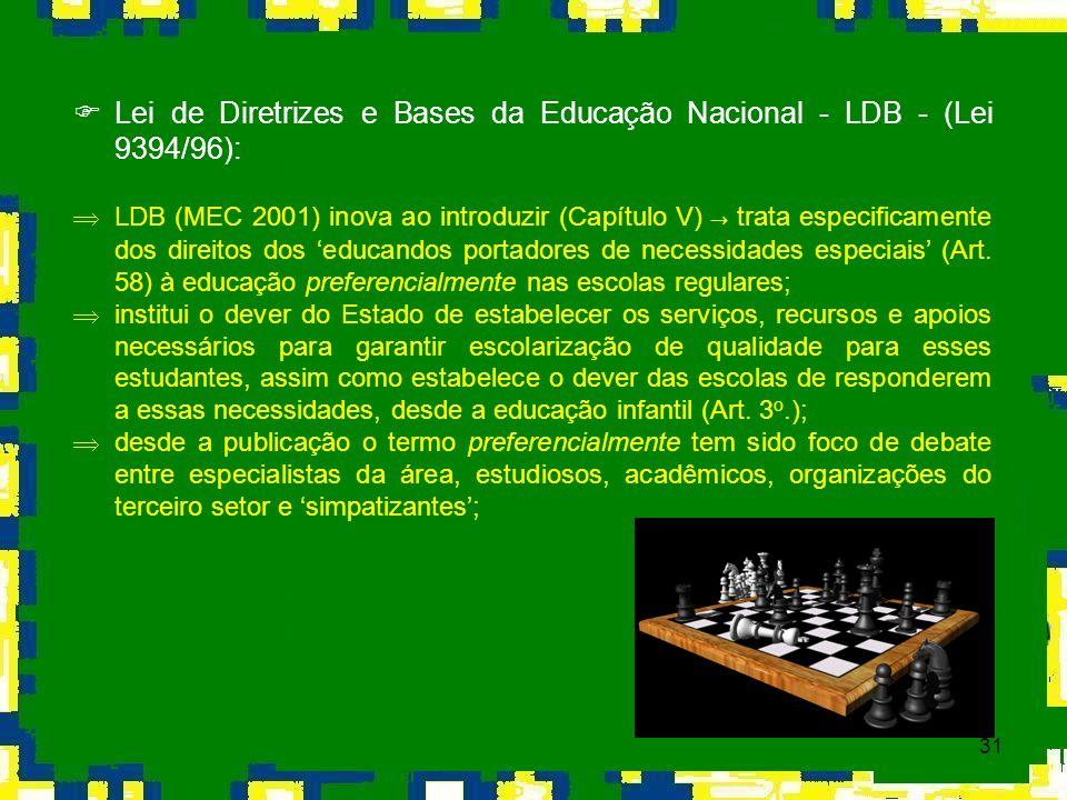 31 Lei de Diretrizes e Bases da Educação Nacional - LDB - (Lei 9394/96): LDB (MEC 2001) inova ao introduzir (Capítulo V) trata especificamente dos dir