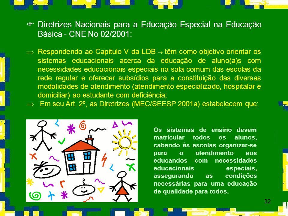32 Diretrizes Nacionais para a Educação Especial na Educação Básica - CNE No 02/2001: Respondendo ao Capitulo V da LDB têm como objetivo orientar os s