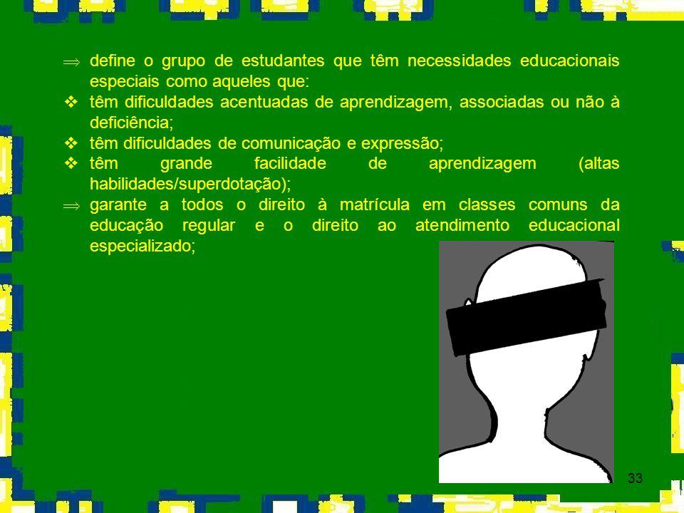 33 Þ define o grupo de estudantes que têm necessidades educacionais especiais como aqueles que: têm dificuldades acentuadas de aprendizagem, associada