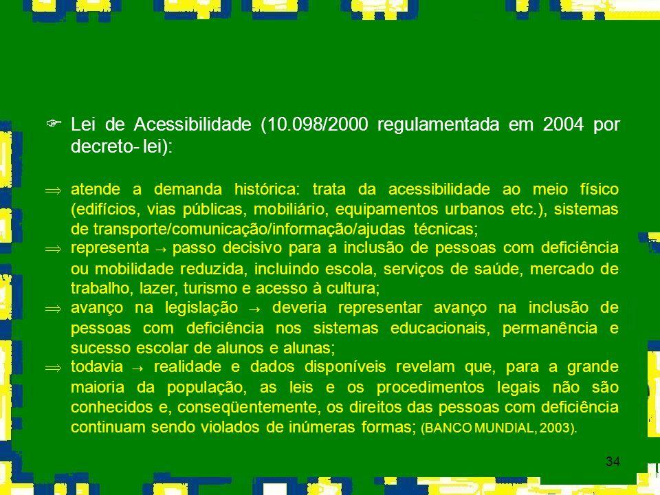 34 Lei de Acessibilidade (10.098/2000 regulamentada em 2004 por decreto- lei): Þ atende a demanda histórica: trata da acessibilidade ao meio físico (e