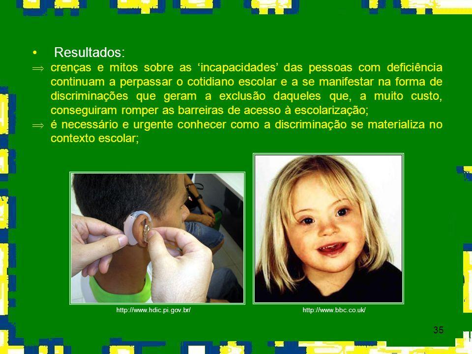 35 Resultados: Þ crenças e mitos sobre as incapacidades das pessoas com deficiência continuam a perpassar o cotidiano escolar e a se manifestar na for