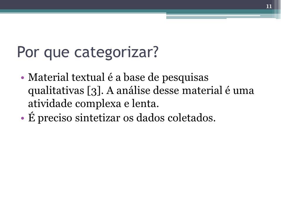 Por que categorizar.Material textual é a base de pesquisas qualitativas [3].