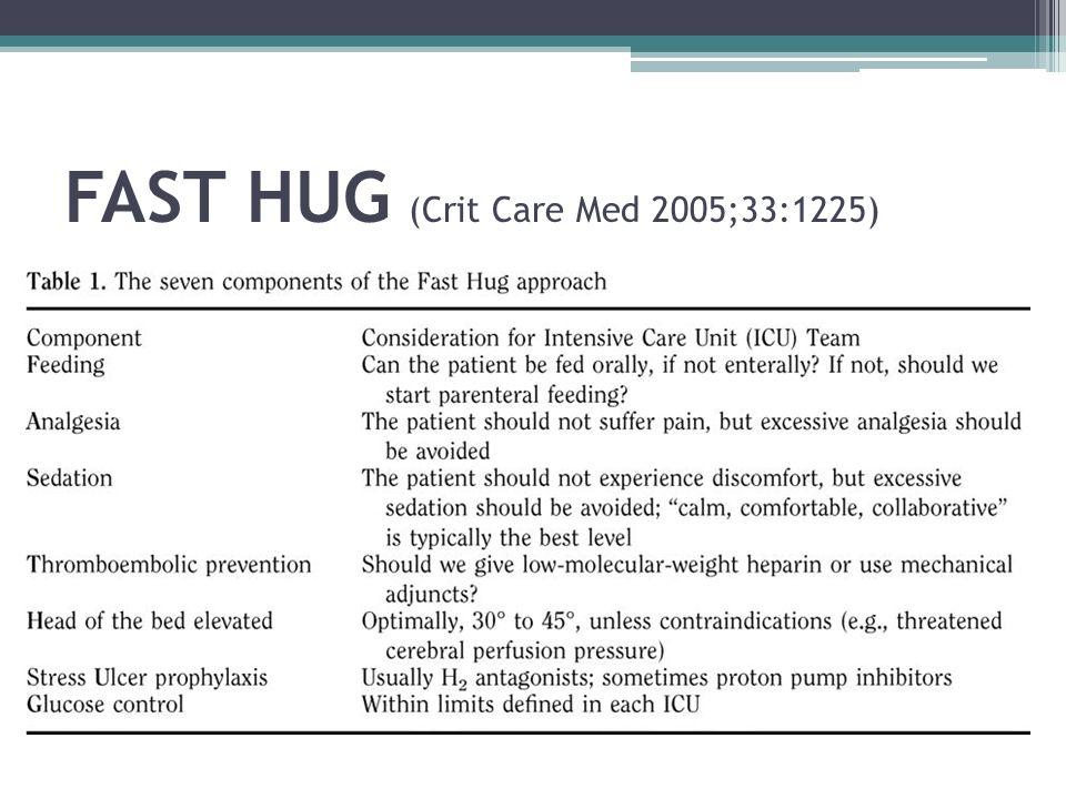 FAST HUG (Crit Care Med 2005;33:1225)