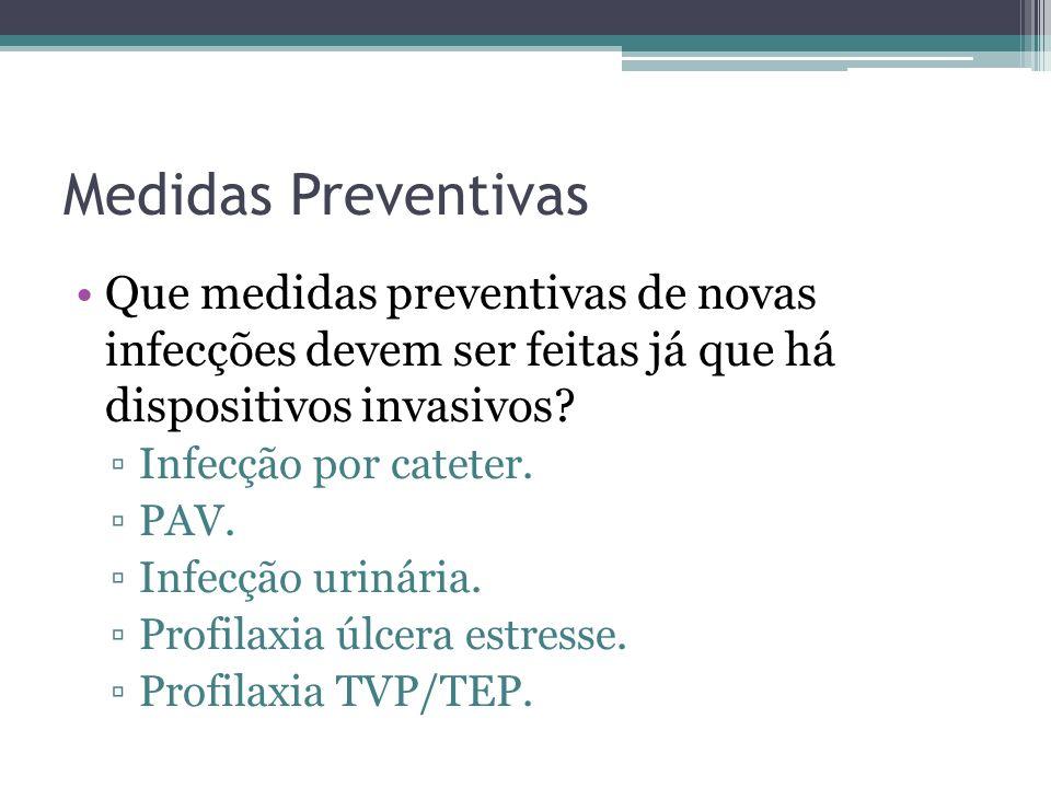 Medidas Preventivas Que medidas preventivas de novas infecções devem ser feitas já que há dispositivos invasivos? Infecção por cateter. PAV. Infecção