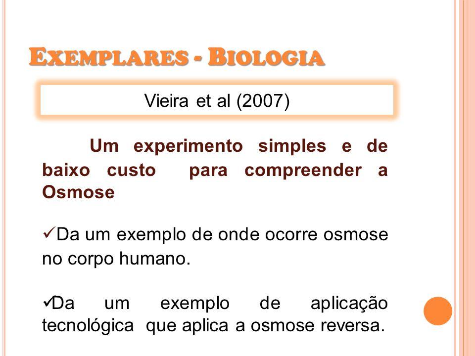 E XEMPLARES - B IOLOGIA Vieira et al (2007) Um experimento simples e de baixo custo para compreender a Osmose Da um exemplo de onde ocorre osmose no c