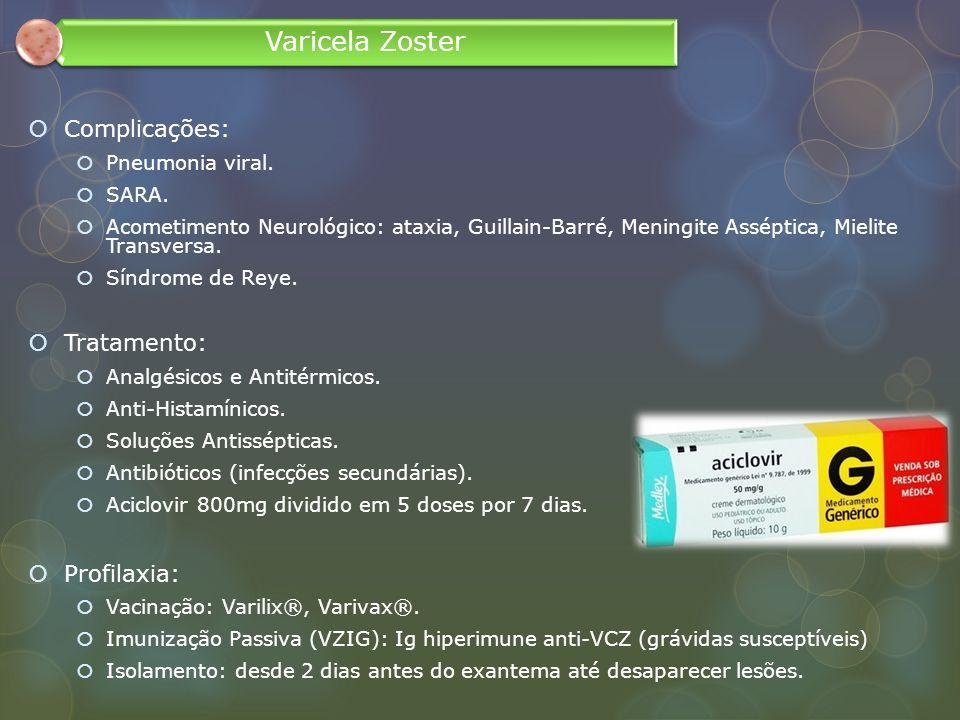 Complicações: Pneumonia viral. SARA. Acometimento Neurológico: ataxia, Guillain-Barré, Meningite Asséptica, Mielite Transversa. Síndrome de Reye. Trat