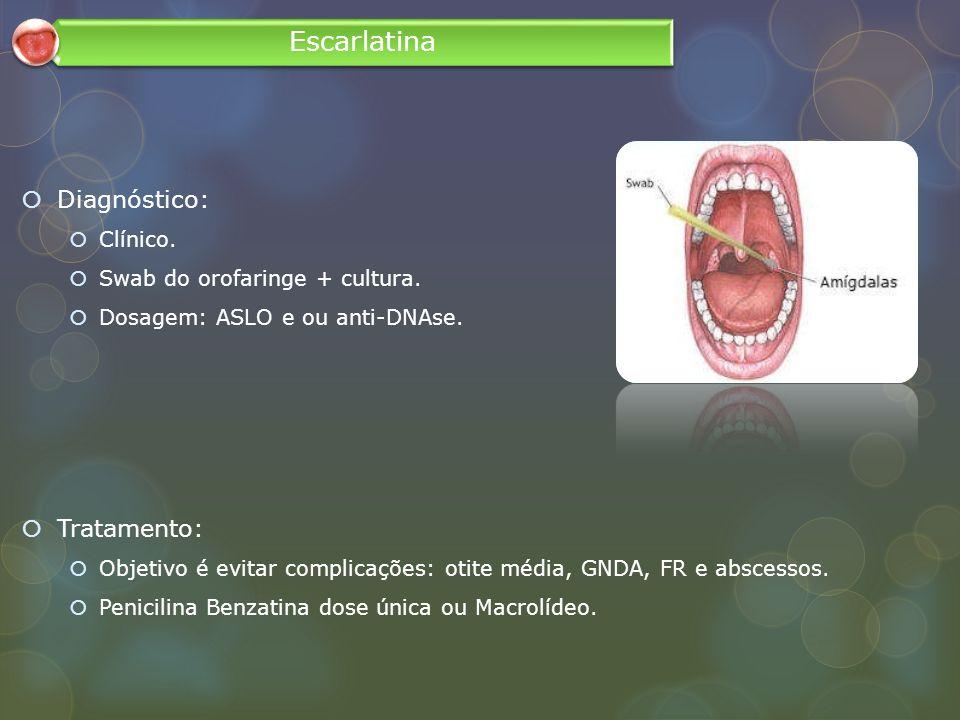 Diagnóstico: Clínico. Swab do orofaringe + cultura. Dosagem: ASLO e ou anti-DNAse. Tratamento: Objetivo é evitar complicações: otite média, GNDA, FR e