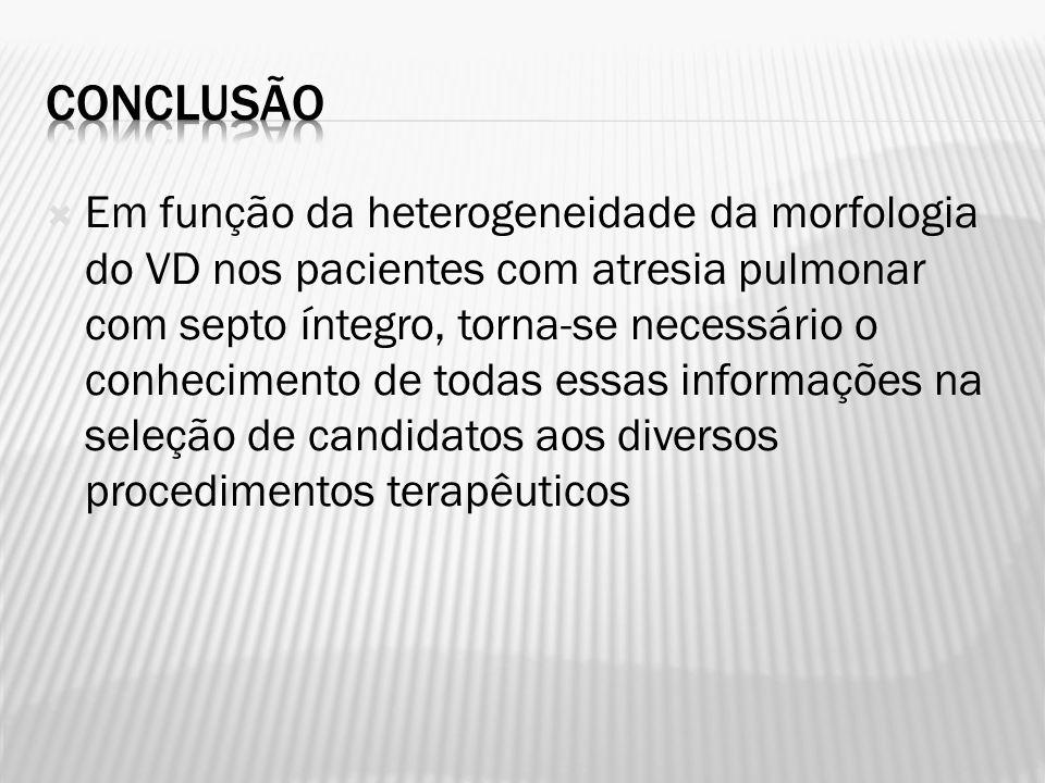 Em função da heterogeneidade da morfologia do VD nos pacientes com atresia pulmonar com septo íntegro, torna-se necessário o conhecimento de todas ess