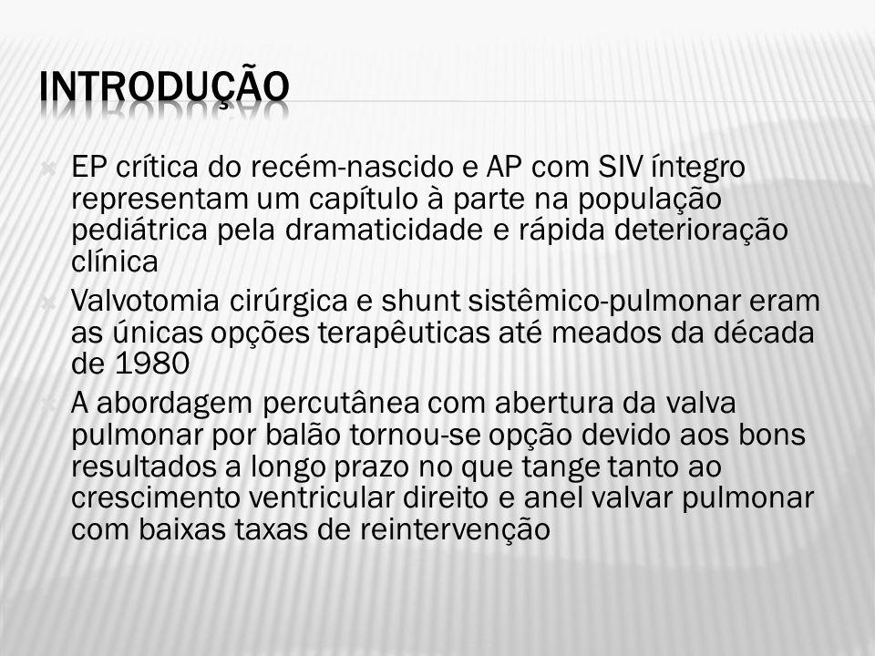 EP crítica do recém-nascido e AP com SIV íntegro representam um capítulo à parte na população pediátrica pela dramaticidade e rápida deterioração clín