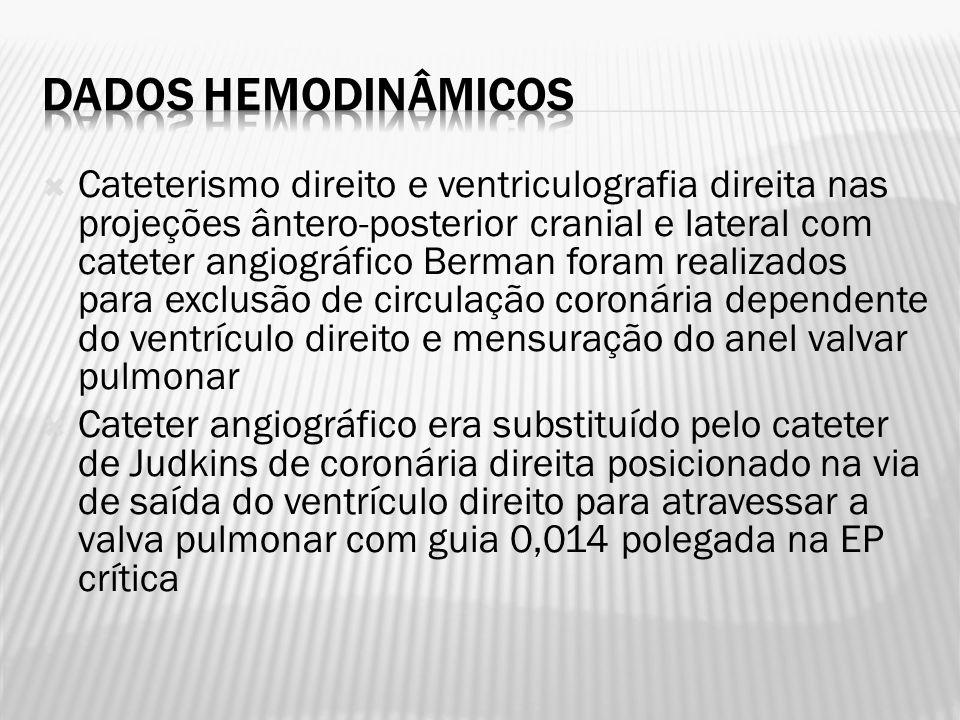 Cateterismo direito e ventriculografia direita nas projeções ântero-posterior cranial e lateral com cateter angiográfico Berman foram realizados para