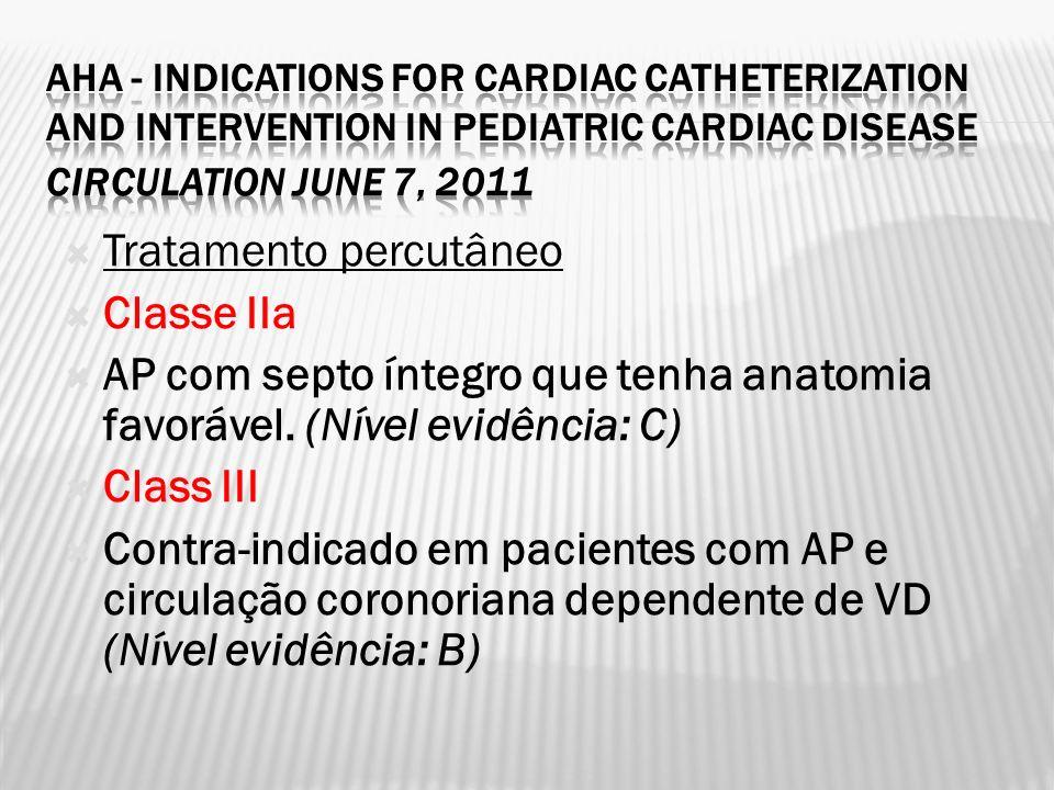 Tratamento percutâneo Classe IIa AP com septo íntegro que tenha anatomia favorável. (Nível evidência: C) Class III Contra-indicado em pacientes com AP