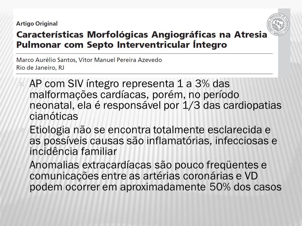 AP com SIV íntegro representa 1 a 3% das malformações cardíacas, porém, no período neonatal, ela é responsável por 1/3 das cardiopatias cianóticas Eti