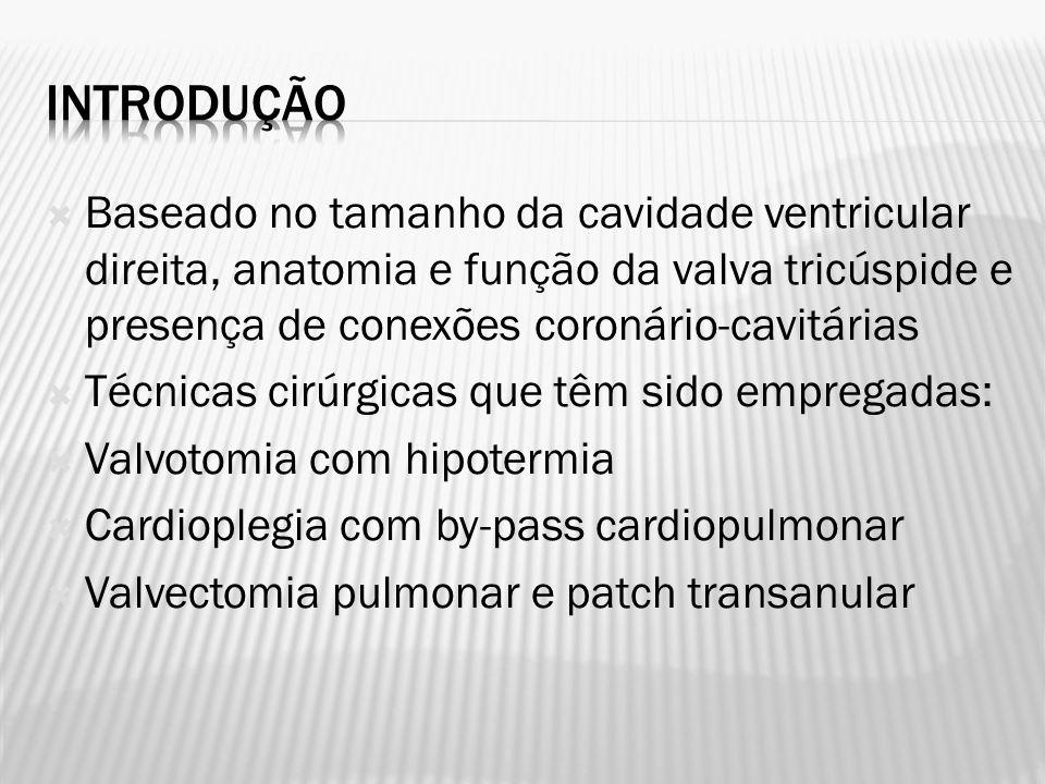 Ventriculografia direita realizada em posição crânio-caudal e lateral para demonstrar: 1) grau de regurgitação tricúspide 2) diâmetro da valva tricúspide 3) presença de conexões coronário-cavitárias e de circulação coronariana ventrículo direito dependente (estenoses graves, proximais, em território coronariano nativo, principalmente descendente anterior e circunflexa – obstruções completas em pontos proximais da circulação coronariana nativa – fístula entre território coronariano nativo e o ventrículo direito – ausência de conexão da coronária esquerda com aorta, com origem da artéria pulmonar) 4) morfologia ventricular direita