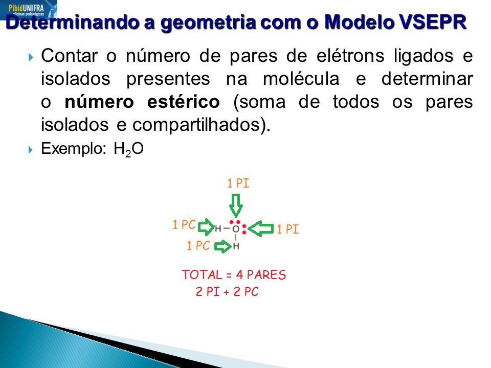 Fazer uma disposição arranjando os pares de elétrons nos vértices de uma figura geométrica, de forma a diminuir ao máximo a repulsão entre os pares isolados.