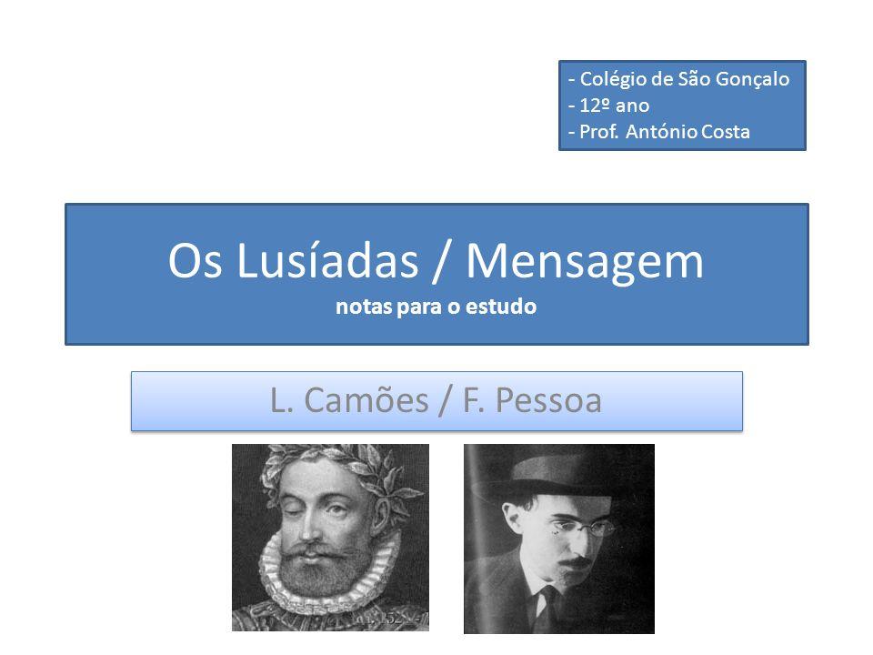 Os Lusíadas / Mensagem notas para o estudo L. Camões / F. Pessoa - Colégio de São Gonçalo - 12º ano - Prof. António Costa