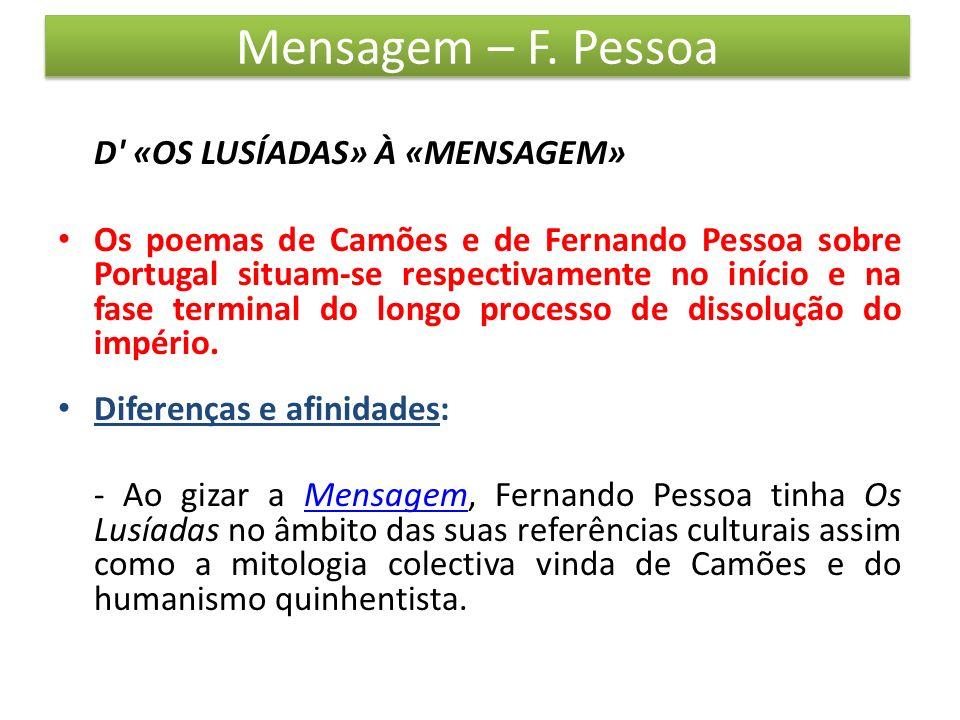 Mensagem – F. Pessoa D' «OS LUSÍADAS» À «MENSAGEM» Os poemas de Camões e de Fernando Pessoa sobre Portugal situam-se respectivamente no início e na fa