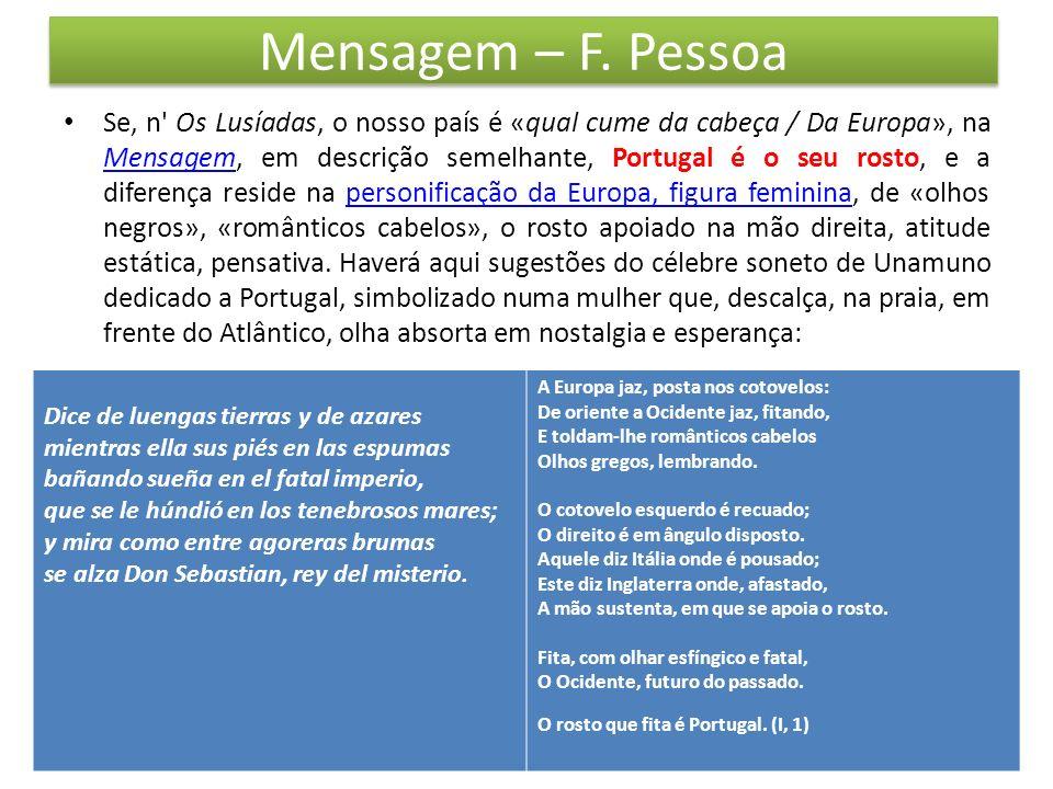 Mensagem – F. Pessoa Se, n' Os Lusíadas, o nosso país é «qual cume da cabeça / Da Europa», na Mensagem, em descrição semelhante, Portugal é o seu rost