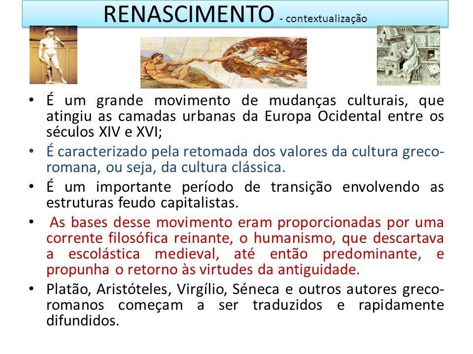 RENASCIMENTO - contextualização É um grande movimento de mudanças culturais, que atingiu as camadas urbanas da Europa Ocidental entre os séculos XIV e