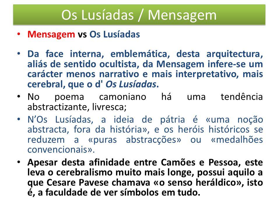 Os Lusíadas / Mensagem Mensagem vs Os Lusíadas Da face interna, emblemática, desta arquitectura, aliás de sentido ocultista, da Mensagem infere-se um